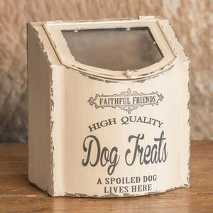 White Vintage Style Dog Treat Box - Small