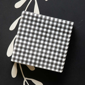 Black & White Gingham Check Beverage Napkins