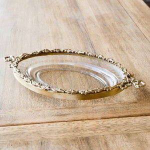 Antique Brass Leaf Trimmed Oval Glass Dish