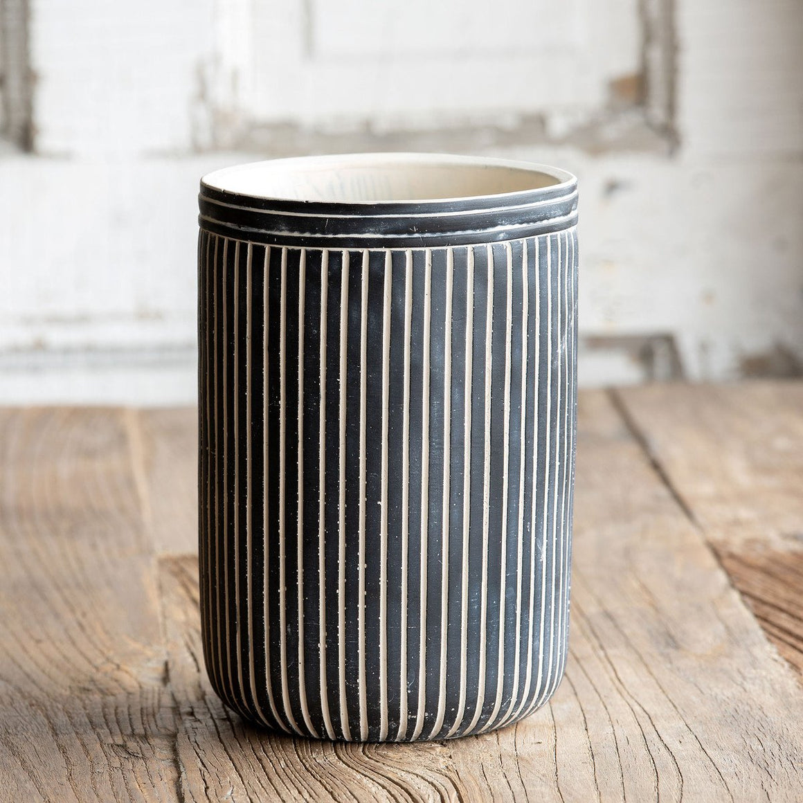 Tall Pinstriped Cement Vessel - Large