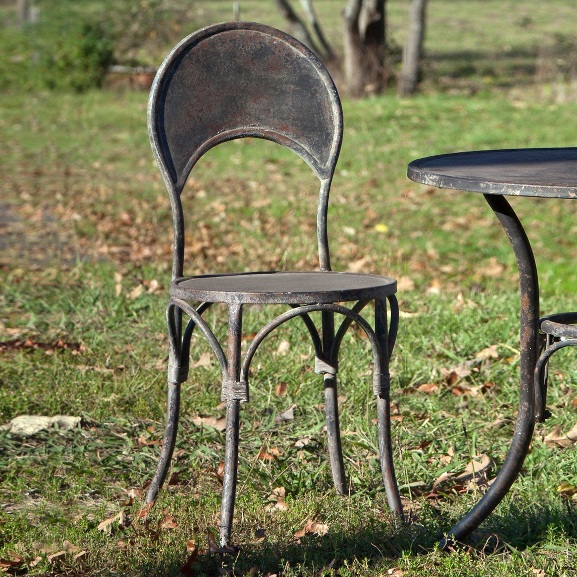Aged Black Metal Cafe' Chair