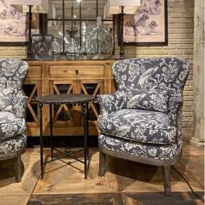 Grey Bird Toile Upholstered Arm Chair
