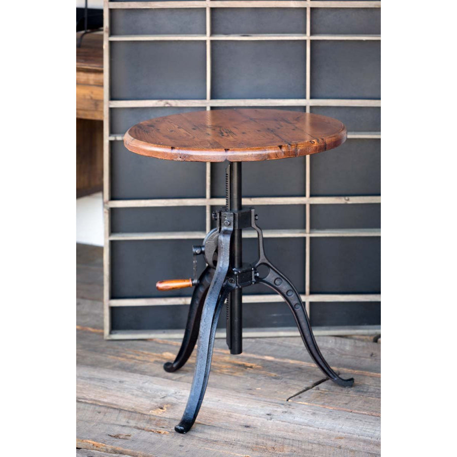 Iron Gear Table with Old Wood Top