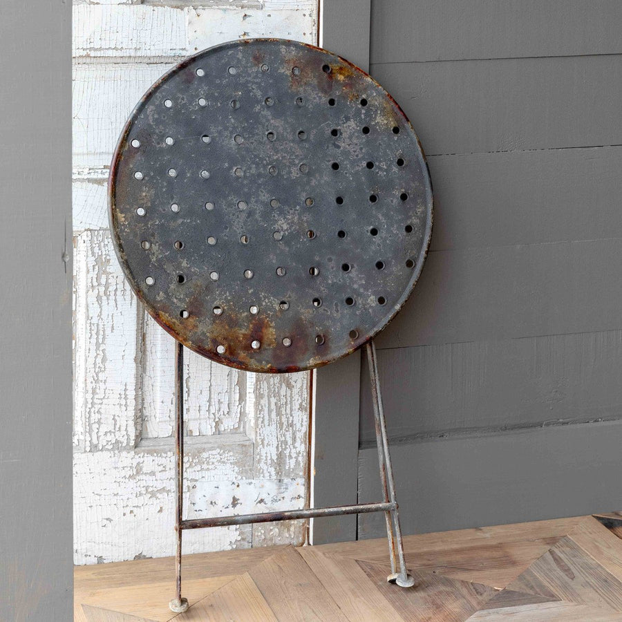 Aged Black Round Metal Cafe' Table
