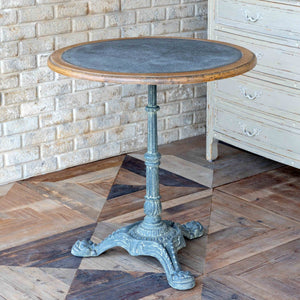 Zinc Topped Round Cafe' Table