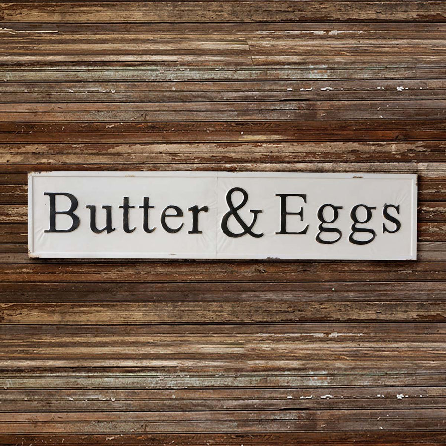 """Butter and Eggs"" Embossed Metal  Sign"