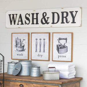 """Wash and Dry"" Embossed Metal Sign"