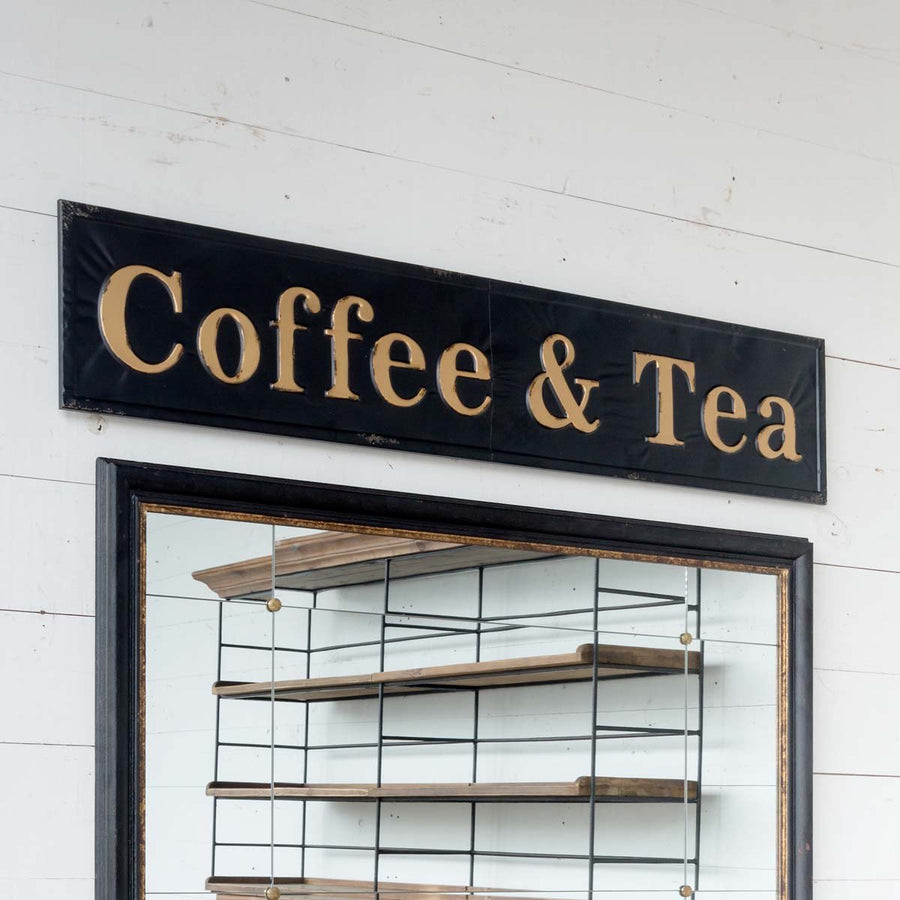 """Coffee & Tea"" Embossed Metal Sign"