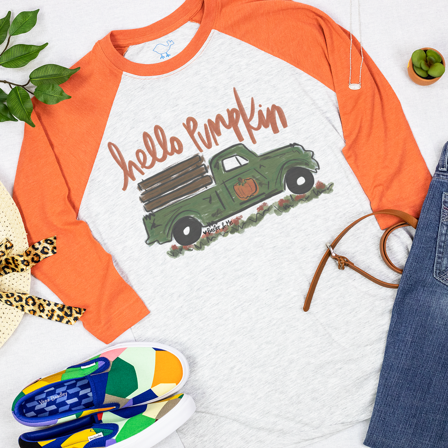 Hello Pumpkin Truck Design Orange Sleve Raglan Tee