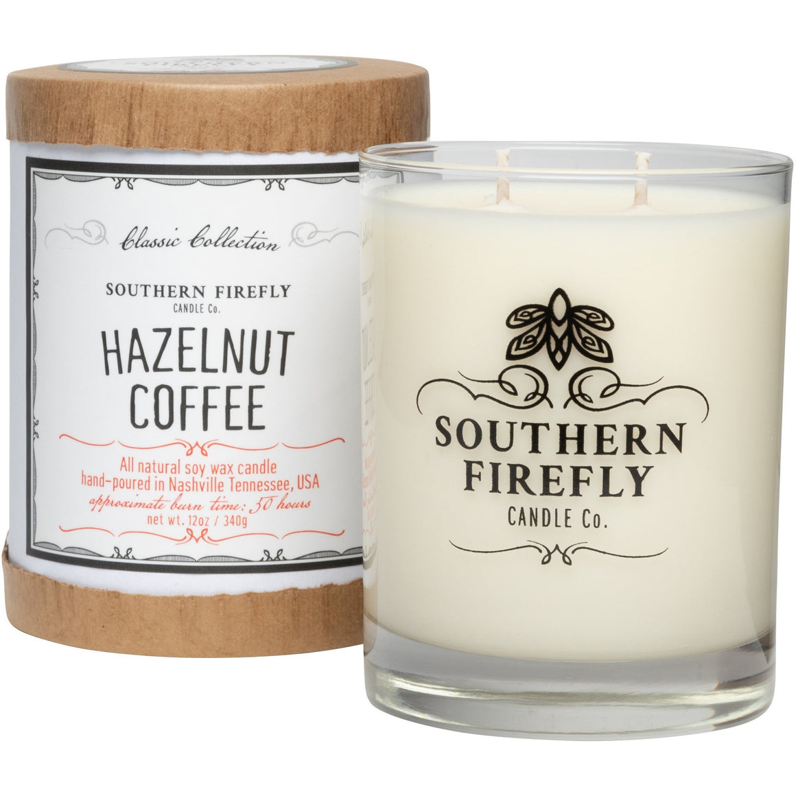 Southern Firefly Candle Co. HAZELNUT COFFEE - 14 oz GLASS CONTAINER