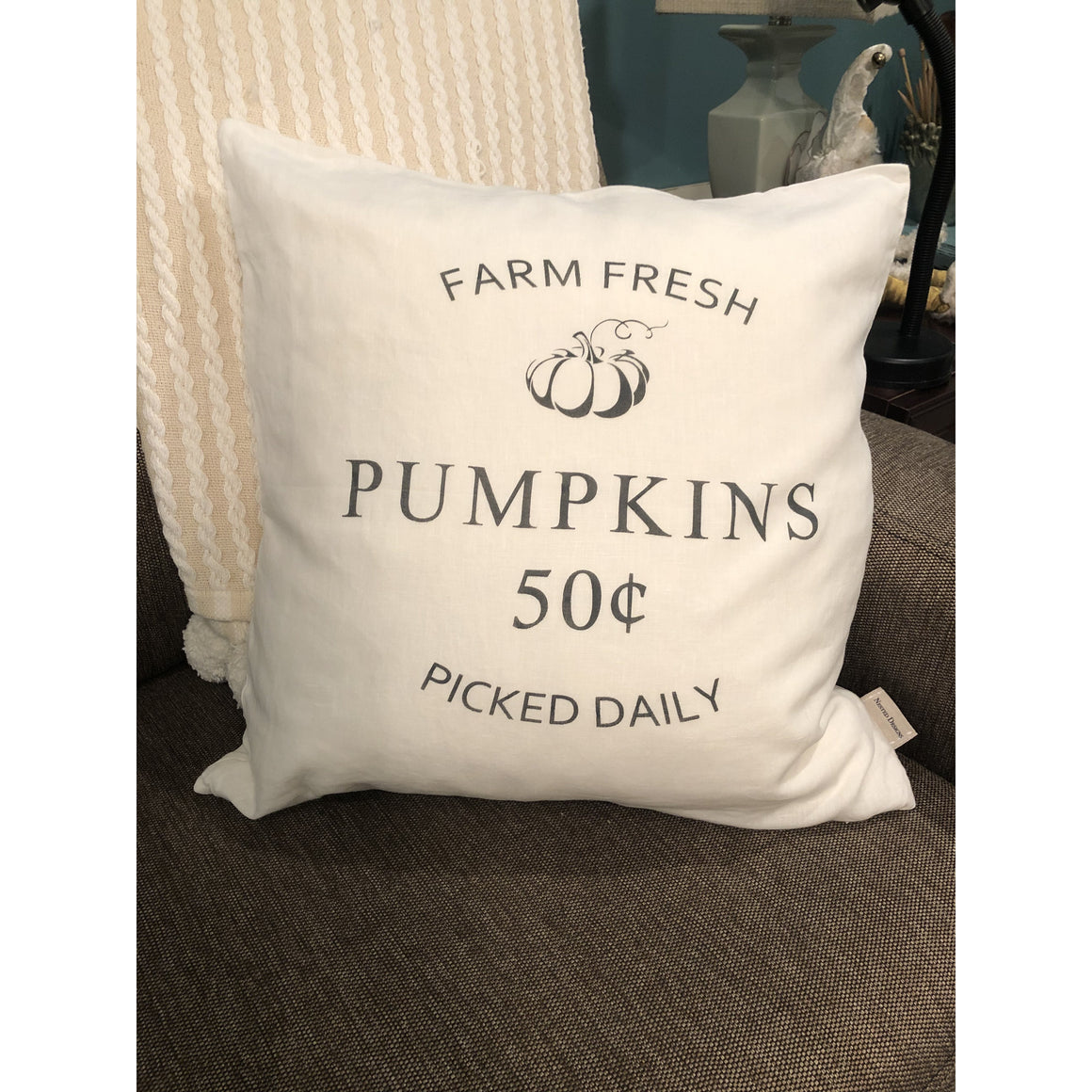 """Farm Fresh Pumpkins"" Fall Pillow (Ivory)"