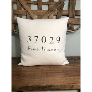 Local Zip Codes Pillow (Ivory) - EXCLUSIVE Design