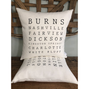 Tennessee Cities & Towns Pillow (Ivory) - EXCLUSIVE Design
