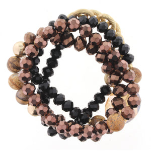 4 Strand Stretch Chocolate, Jet, Picture Jasper