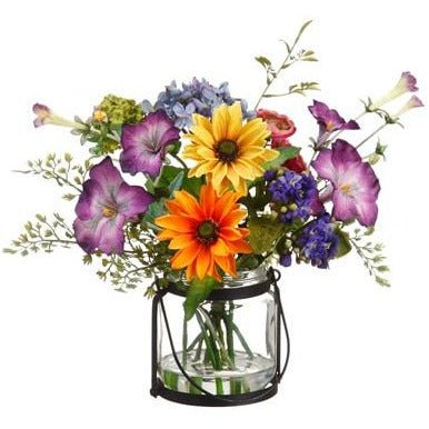 Daisy / Ranunculus / Morning Glory in Glass Vase Mixed