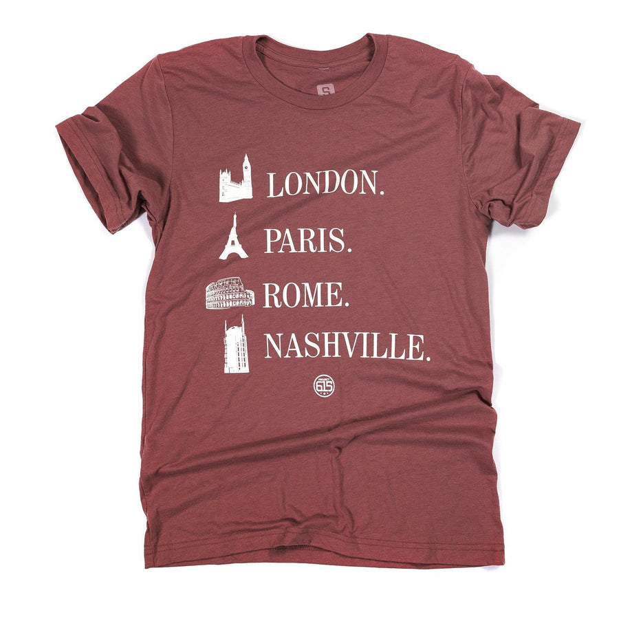 """London, Paris, Rome, Nashville"" T-Shirt"