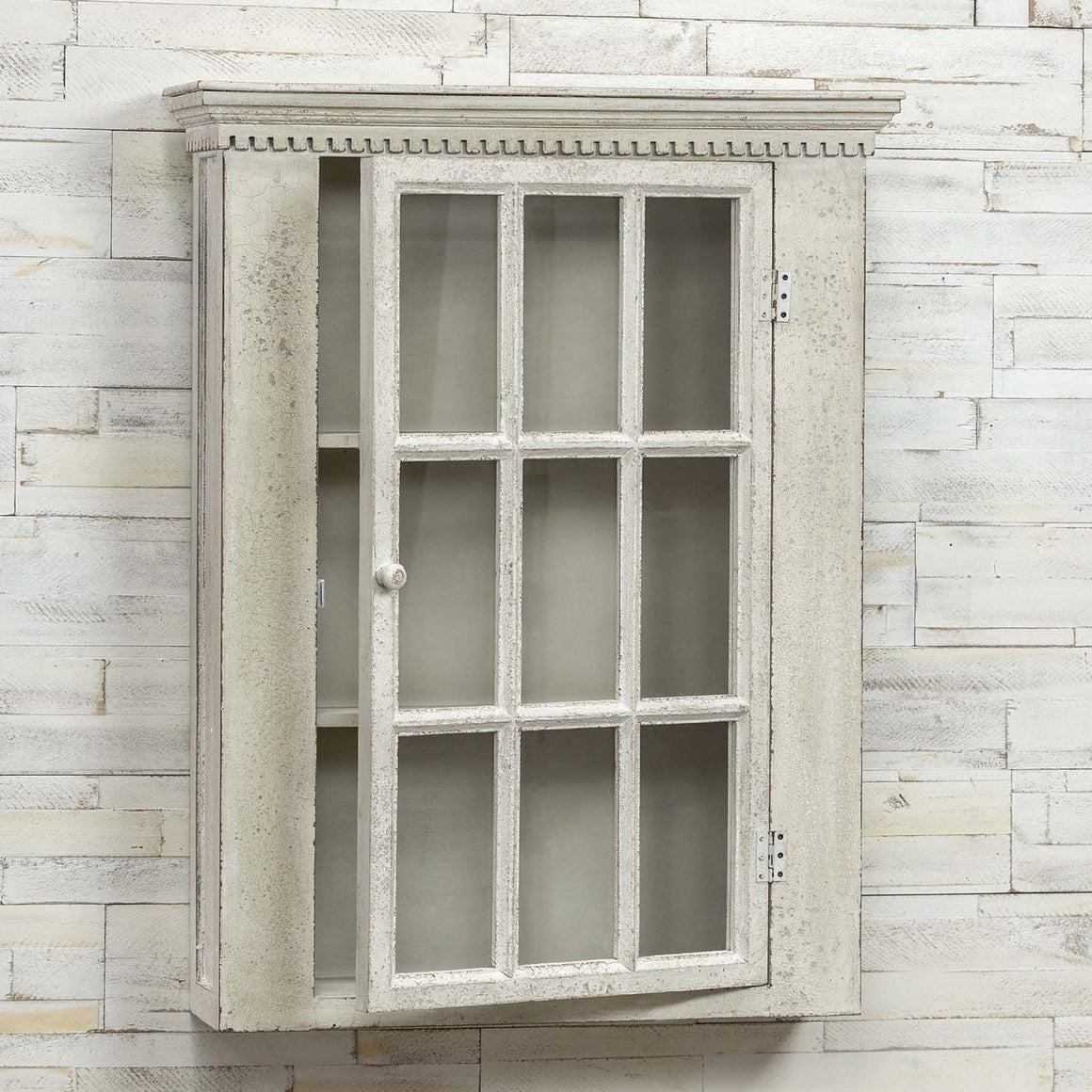 Antique White Hanging Window Cupboard