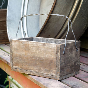 Primitive Wood Box with Wire Handle