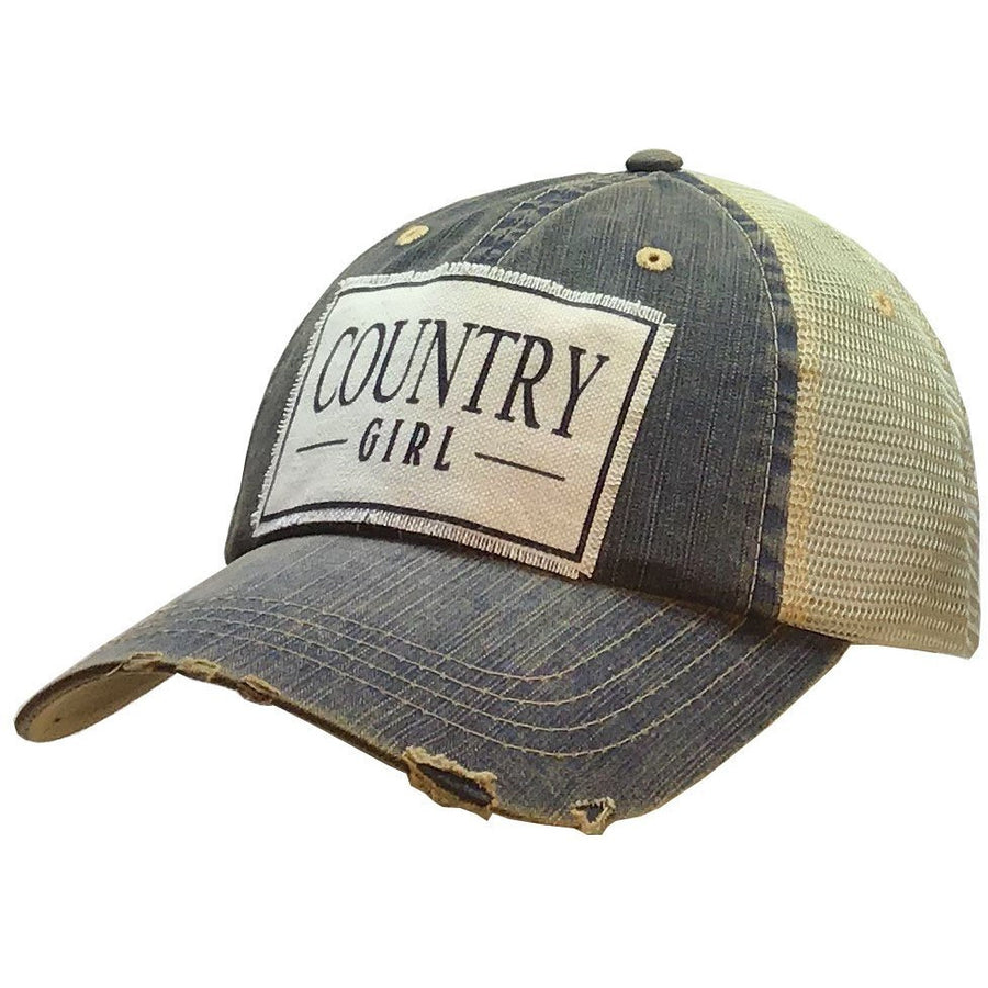 """Country Girl"" Distressed Trucker Cap"