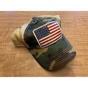 """American Flag"" Distressed Trucker Cap"