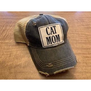 """Cat Mom"" Distressed Trucker Cap"