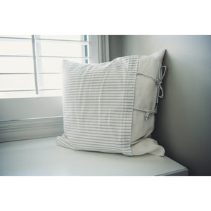 Grey & White Striped Pillow Cover