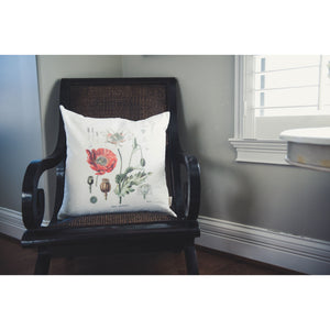 Poppy Print Linen Pillow Cover (Ivory)