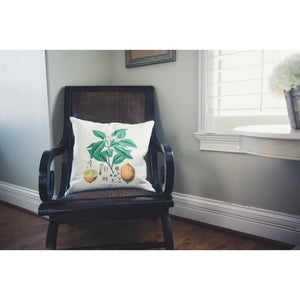 Lemon Print Linen Pillow Cover (Ivory)
