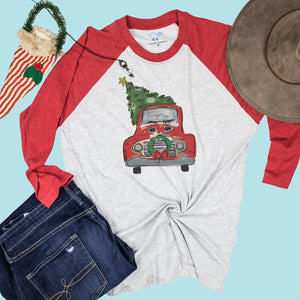 Christmas State Bound Truck on Red Sleeve Raglan Tee