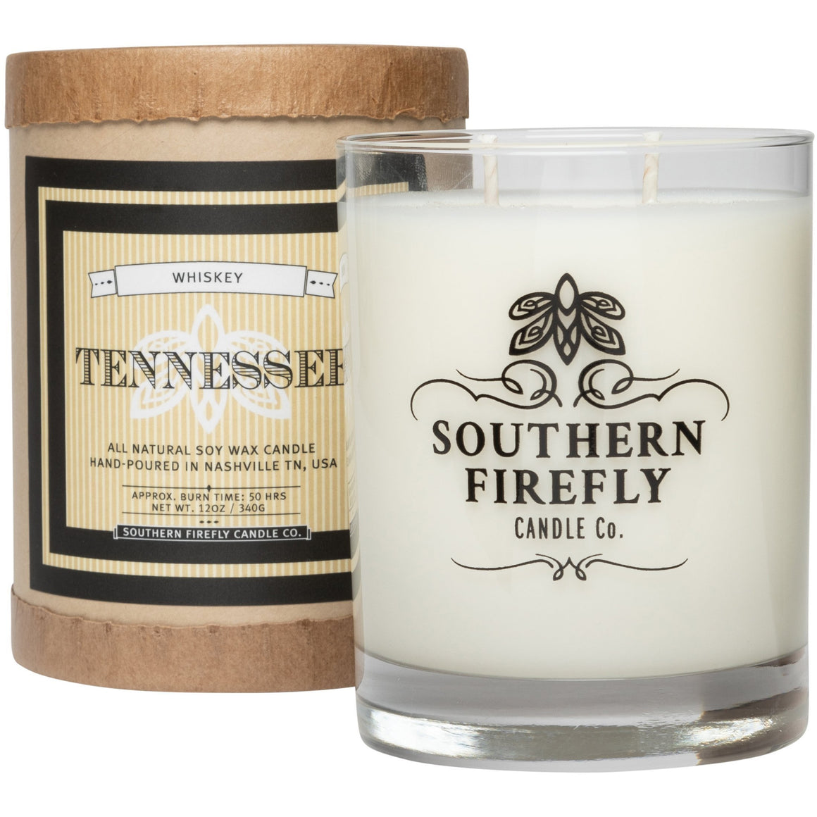 Southern Firefly Candle Co. TENNESSEE WHISKEY - 14 oz GLASS CONTAINER