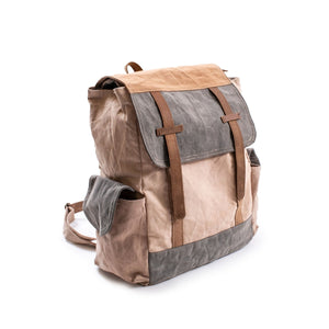 Washed Canvas Backpack with Leather