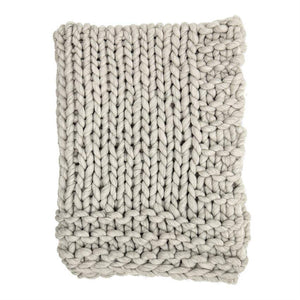 Chunky Wool Blend Knit Throw - Grey