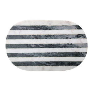 Marble Tray/CuttingBoard w/ Black & White Stripe