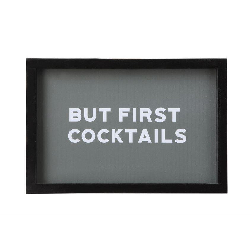 """But First, Cocktails"" Wood Framed Glass Wall Decor"