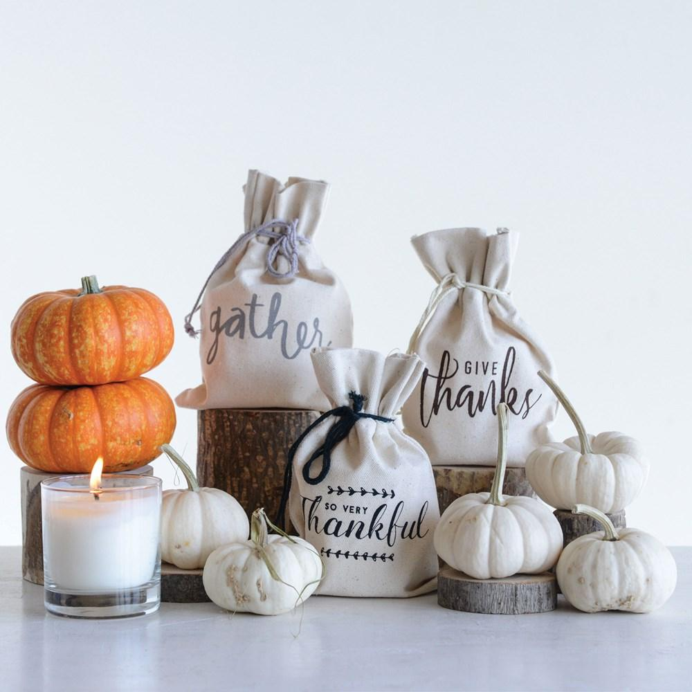 Fall Greetings Clear Glass Candle in Cotton Bag