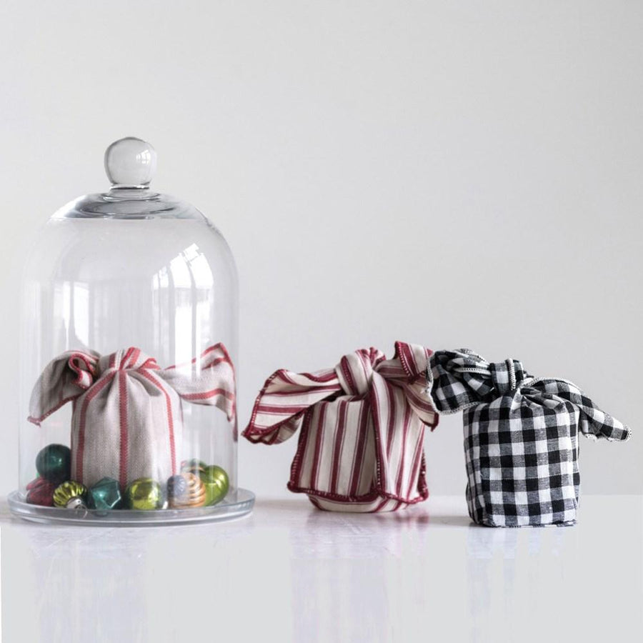 Clear Glass Candle in Knotted Woven Bag