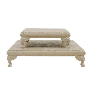 Distressed Cream Decorative Metal Footed Pedestal