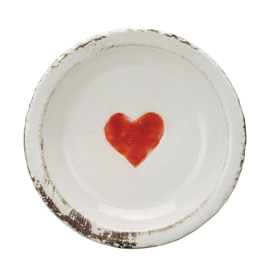Distressed Finish Decorative Terra-cotta Dish w/Heart