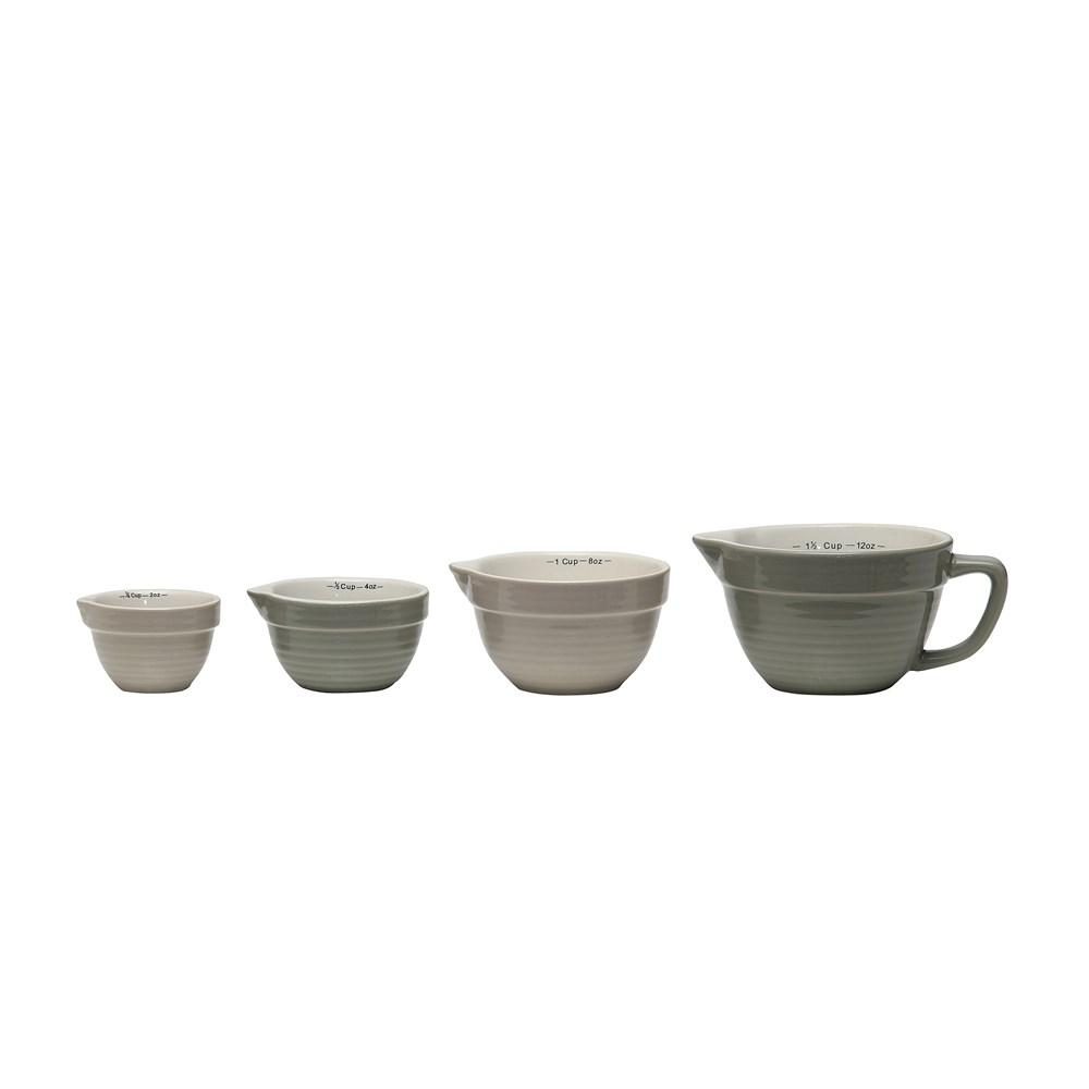 Gray Stoneware Batter Bowl Shaped Measuring Cups Set