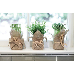Burlap Wrapped Faux Potted Herb