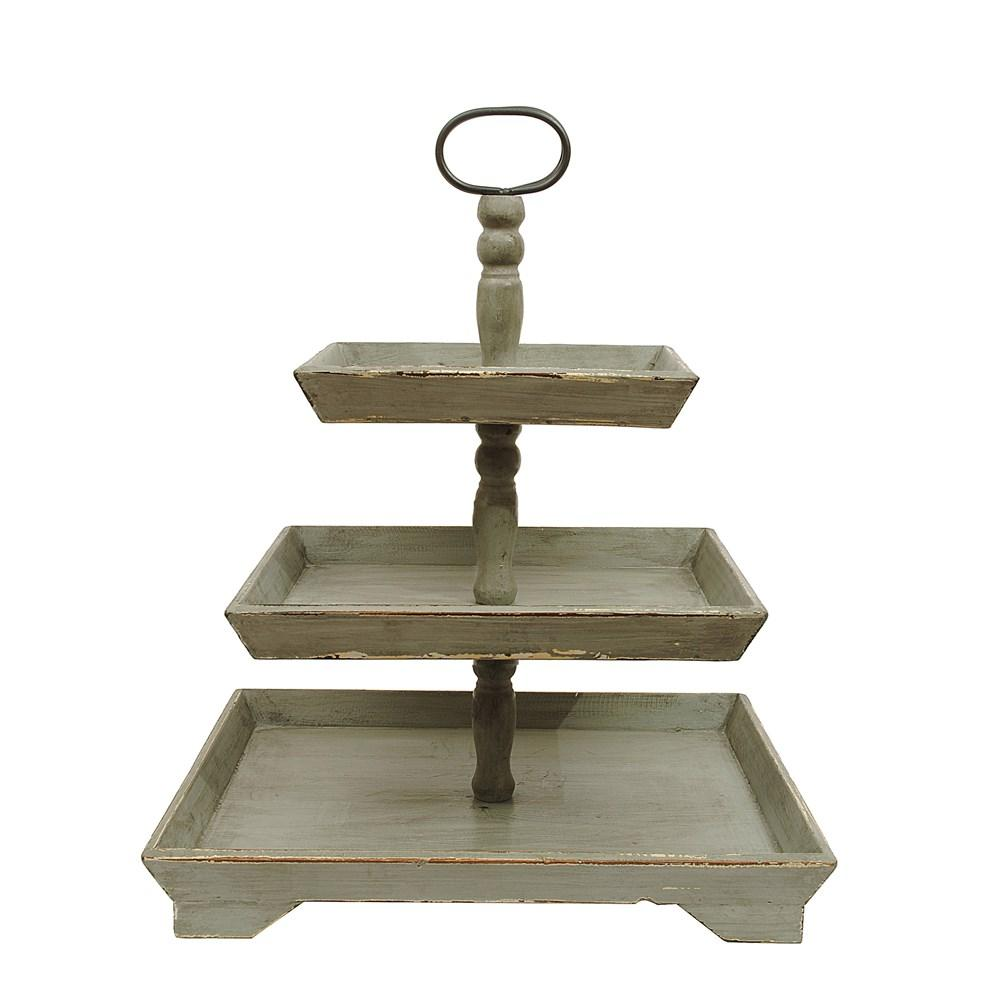 Gray Decorative Wood 3-Tier Tray
