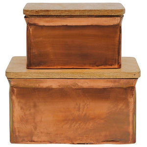 Copper Finish Metal Boxes w/Wood Lid