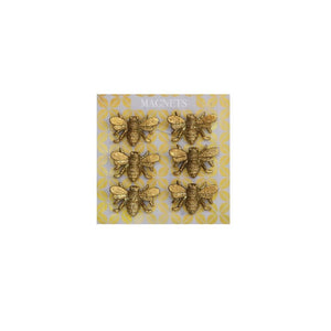 Set of 6 Pewter Bee Magnets on Card