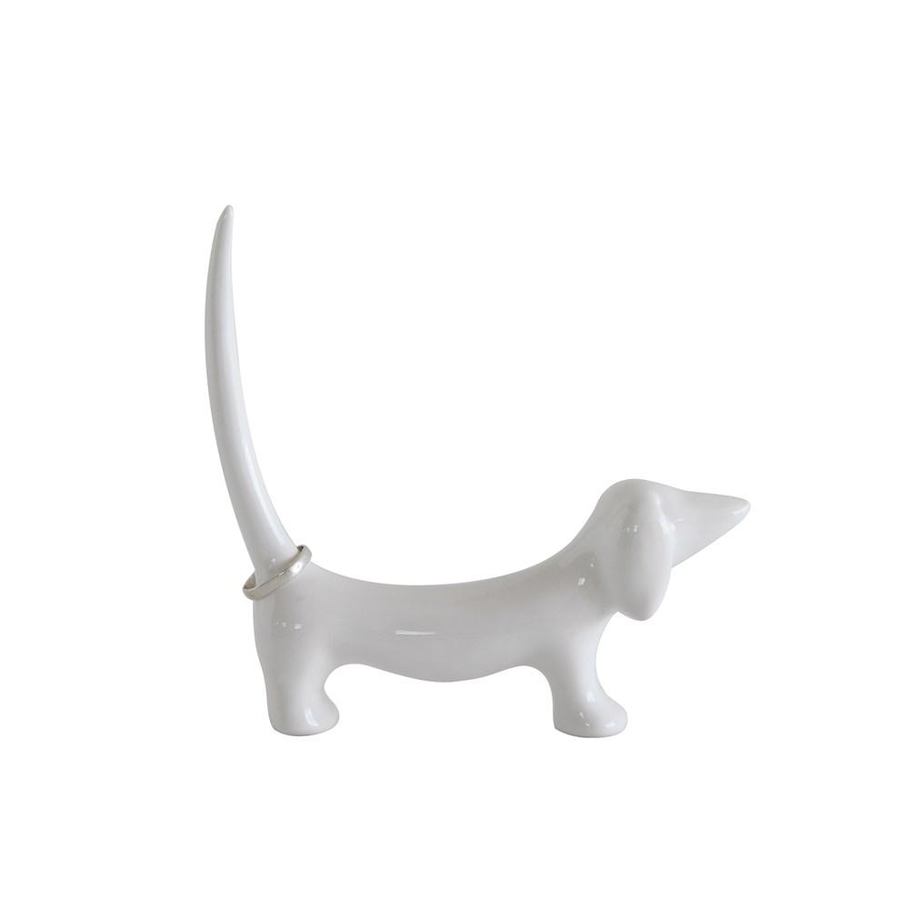 White Stoneware Dachshund Shaped Ring Holder