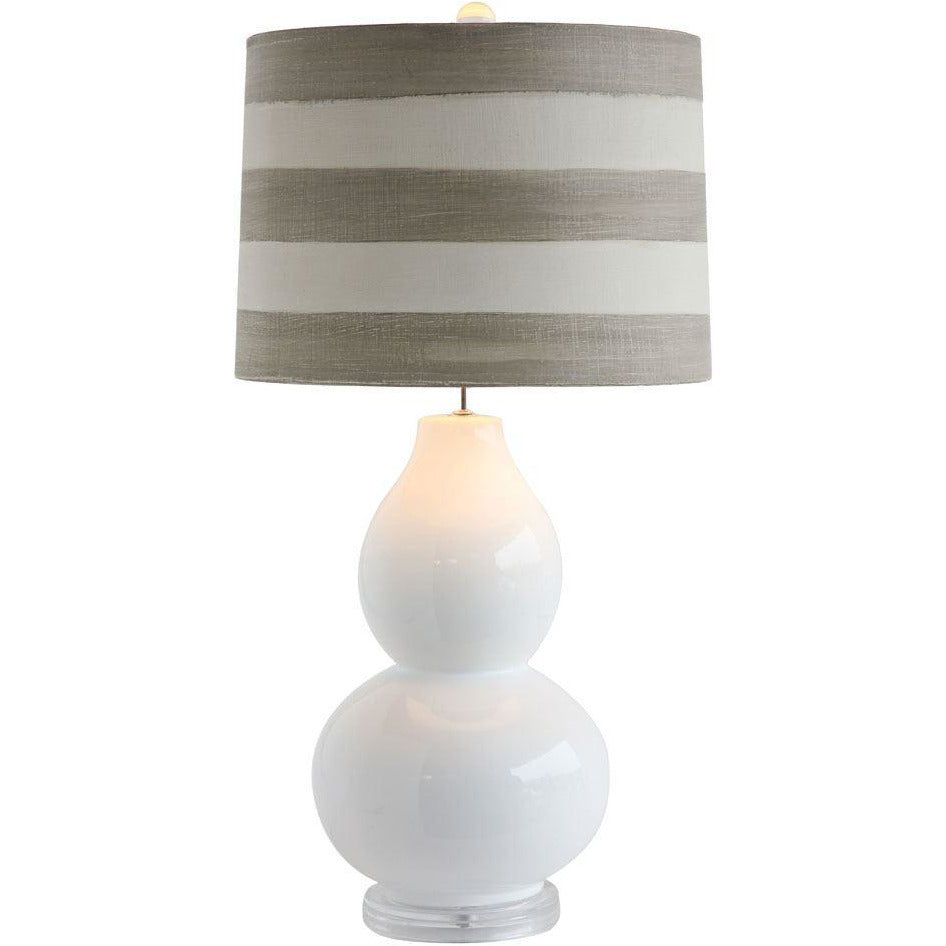 White Ceramic Lamp with Stripe Linen Shade