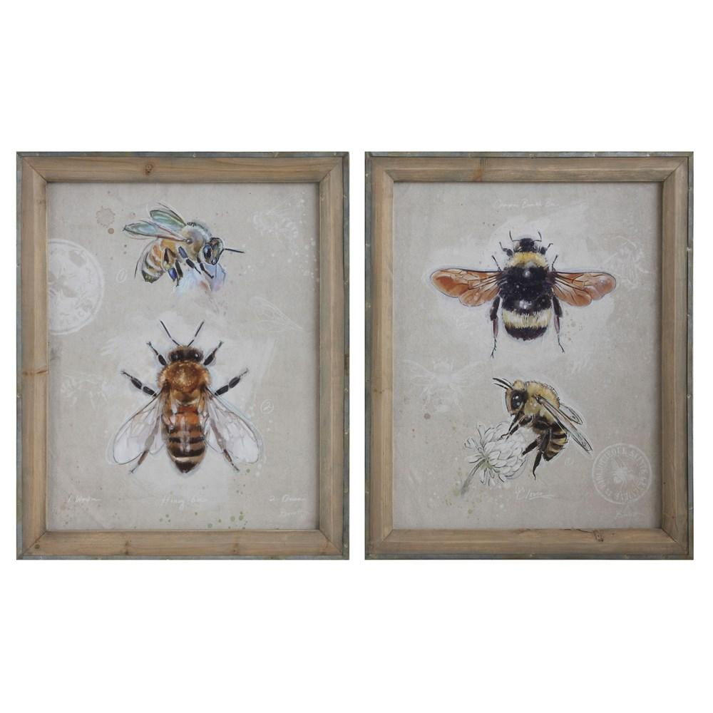 Wood Framed Canvas Wall Decor w/Bees