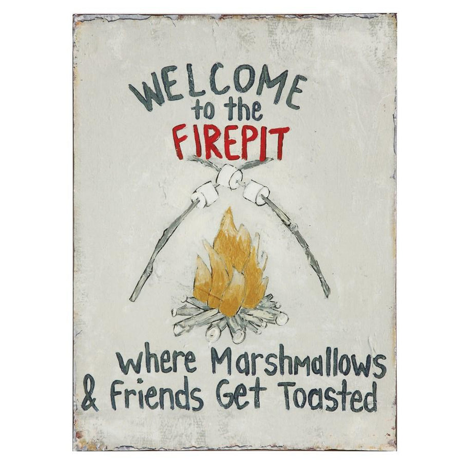 """Welcome To The Firepit …"" Tin Wall Decor"