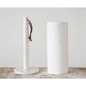 White Marble Paper Towel Holder w/Leather Tie