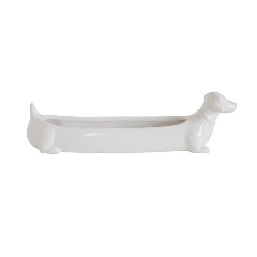 , White Ceramic Dachshund Cracker Dish