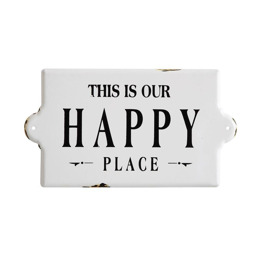 """Happy Place"" Enameled Wall Decor"